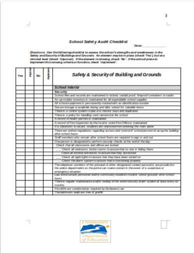 school safety audit checklist form