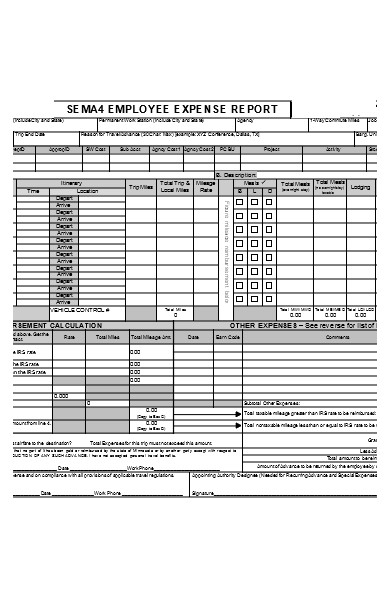 standard employee expense report form