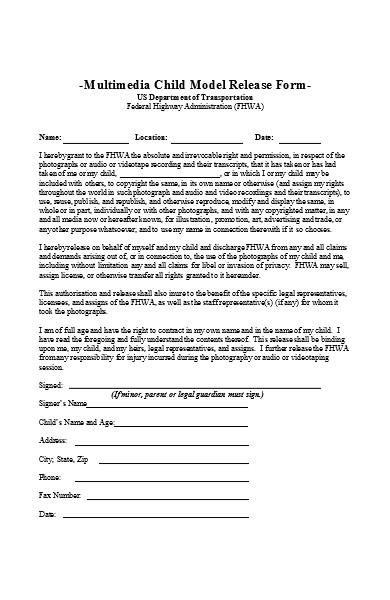 standard model copyright release form