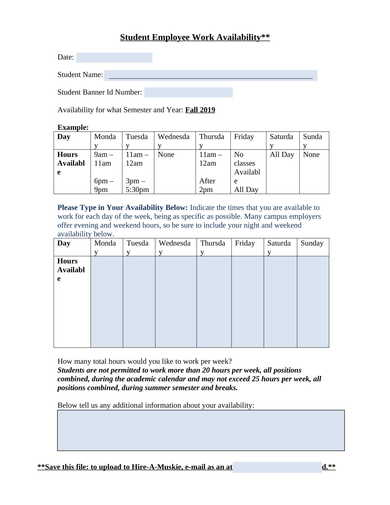 student employee work availability form