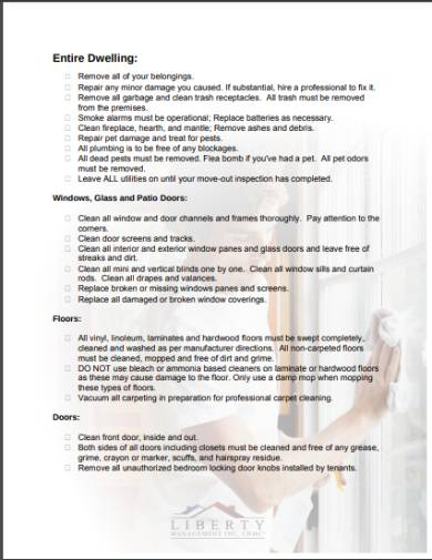 tenancy move out cleaning checklist form