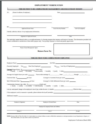 tenant employee verication form template