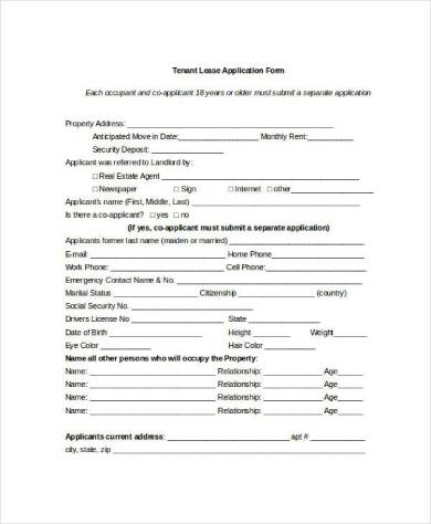 tenant leasing application form