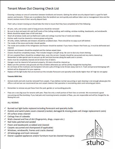 tenant move out cleaning checklist