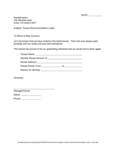 tenant recommendation letter in doc