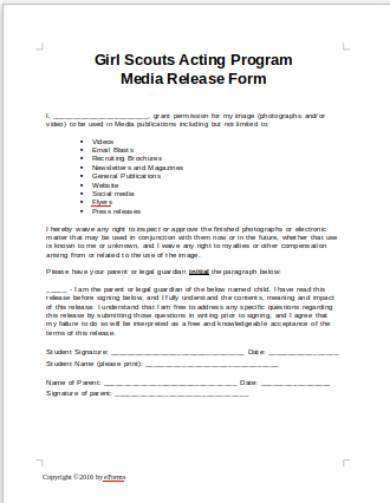 theater media liability release form 1