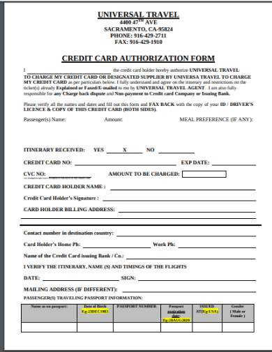 travel holiday credit card authorization form