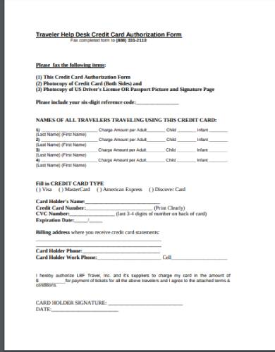 traveler holiday credit card authorization form