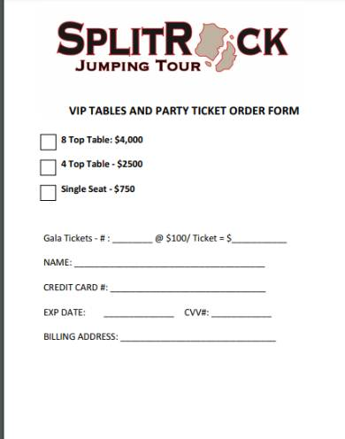 vip tickets and tables order form