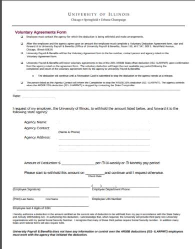 voluntary deduction agreements form