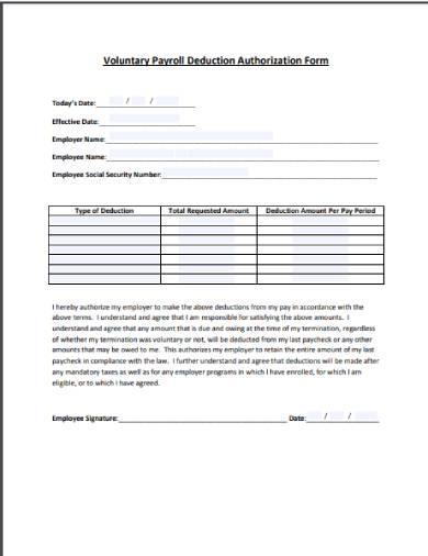 voluntary payroll deduction agreements authorization form