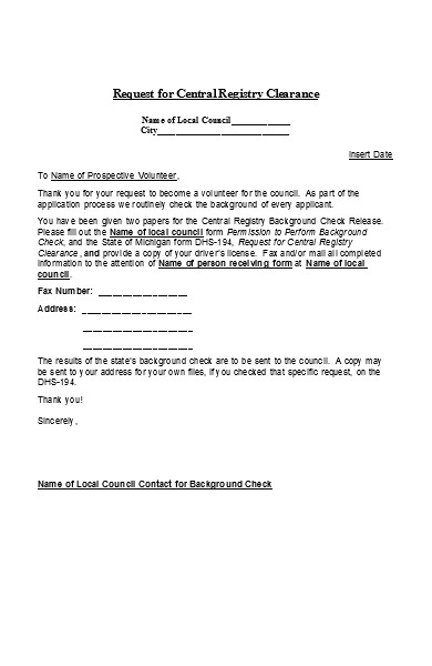 volunteer background check application form