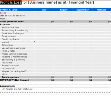 yearly gross profit loss statement template