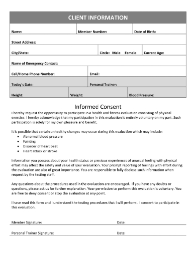 Trainer information personal template client 14 Essential