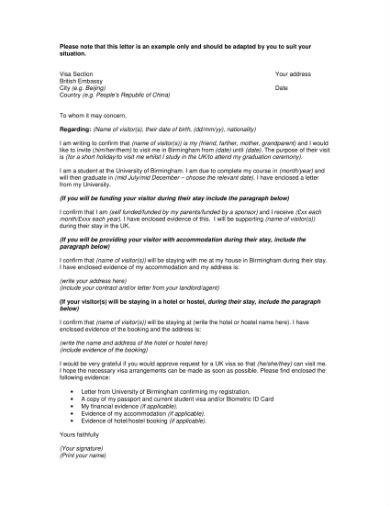 visitor visa letter 1