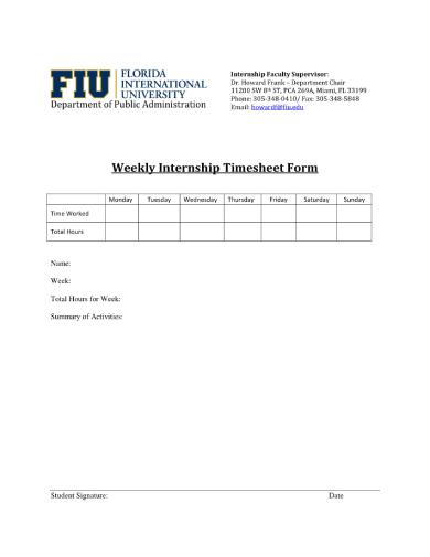 weekly internship timesheet 1 1