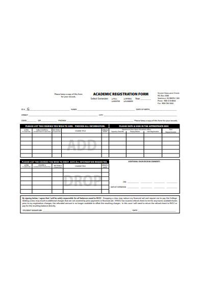 academic registration form in pdf