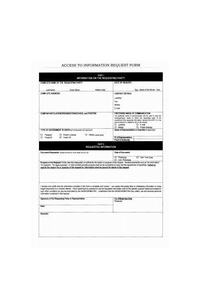 access information request form