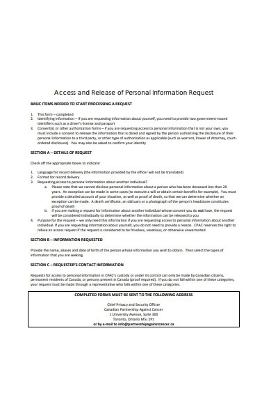 access and release of personal information request