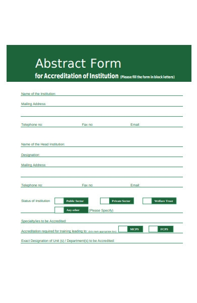 accreditation abstract form