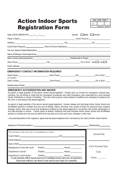 action indoor sports registration form