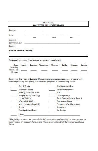 activities volunteer application form