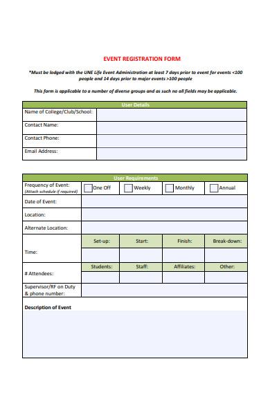 administration event registration form