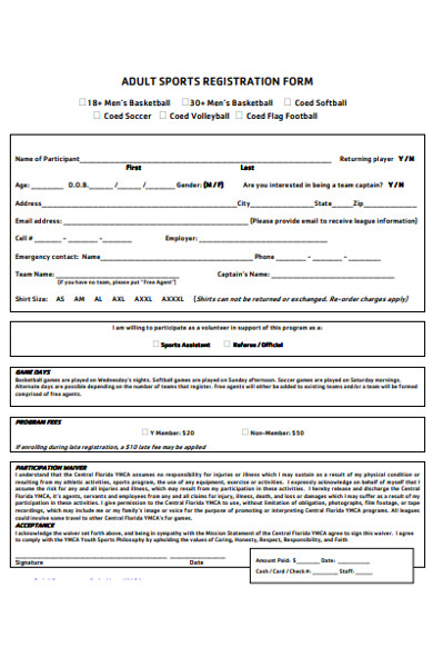 adult sports registration form