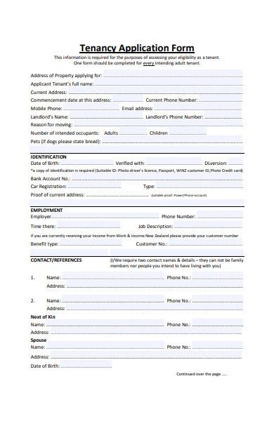 adult tenancy application form