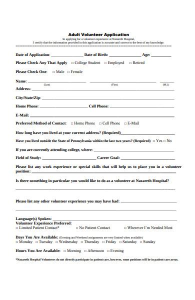adult volunteer application form