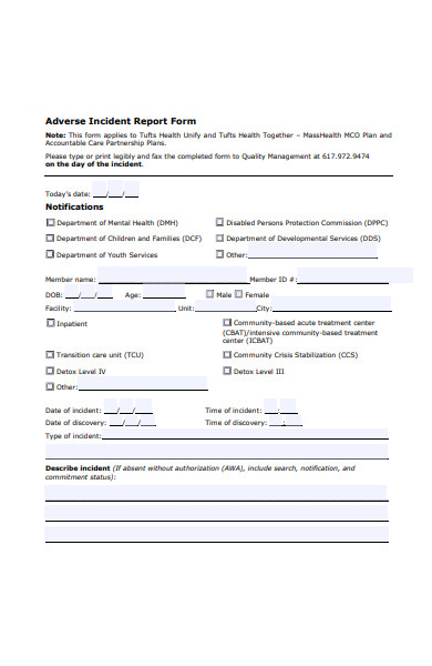 adverse incident report form