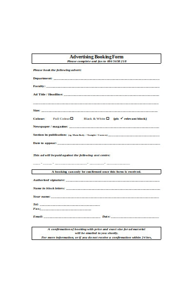 advertising booking form template