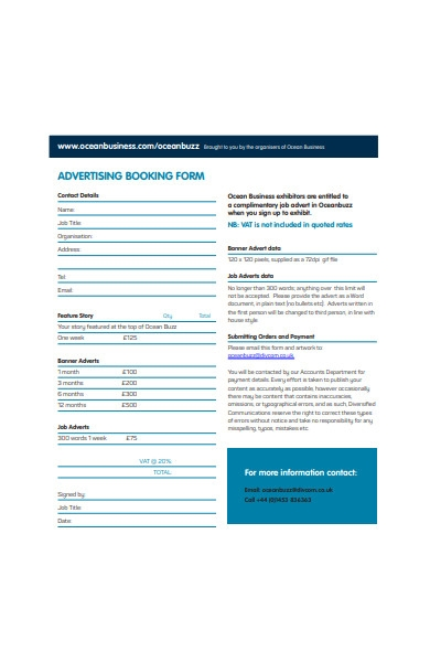 advertising booking form in pdf