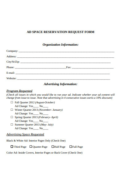 advertising form in pdf