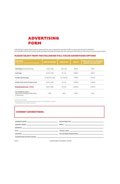 advertising form