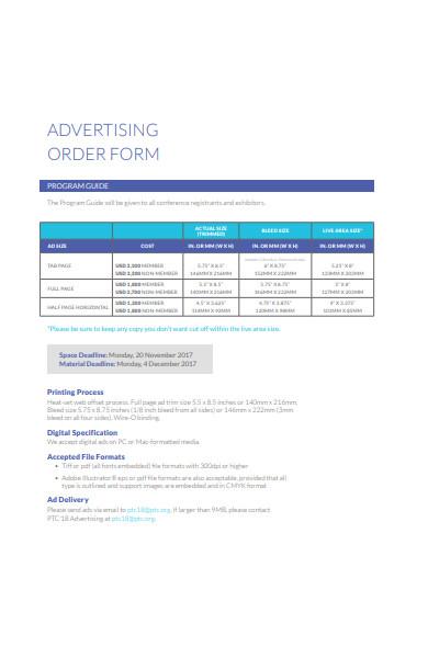 advertising order form