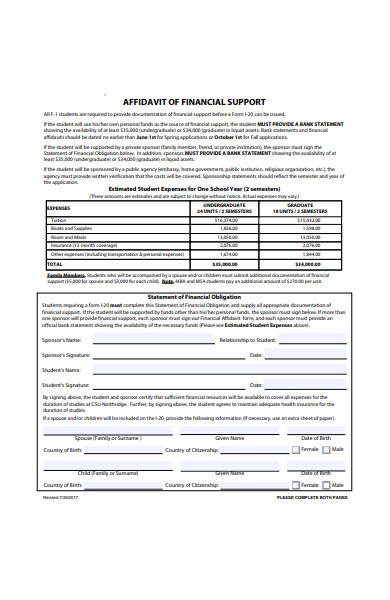 affidavit form of financial support