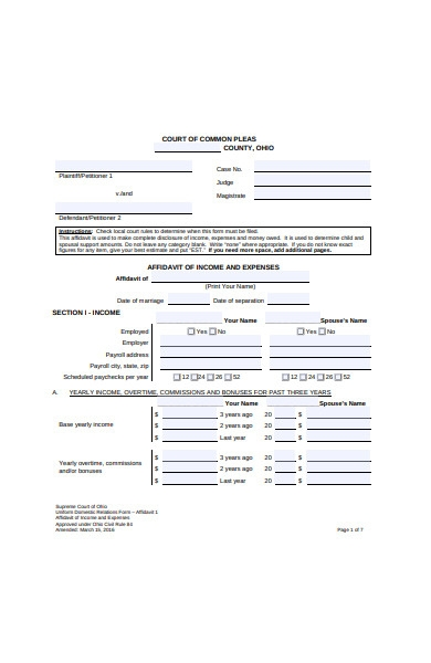 affidavit form of income and expenses