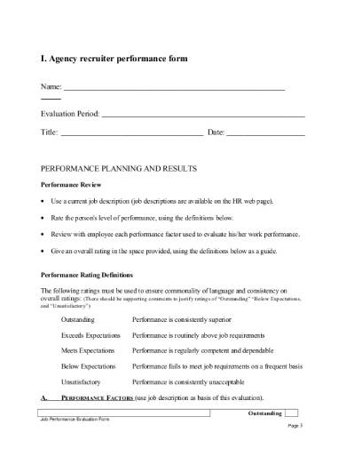 agency recruiter performance review form