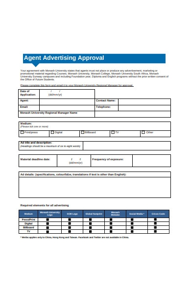 agent advertising approval form