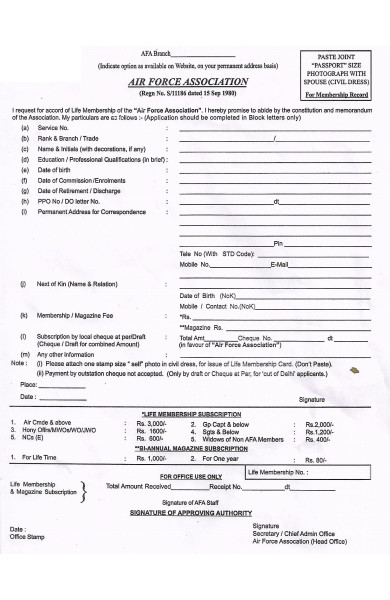 air force association membership form