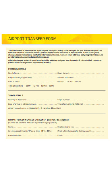 airport transfer form