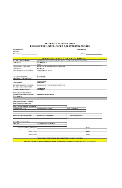 alternate payment form