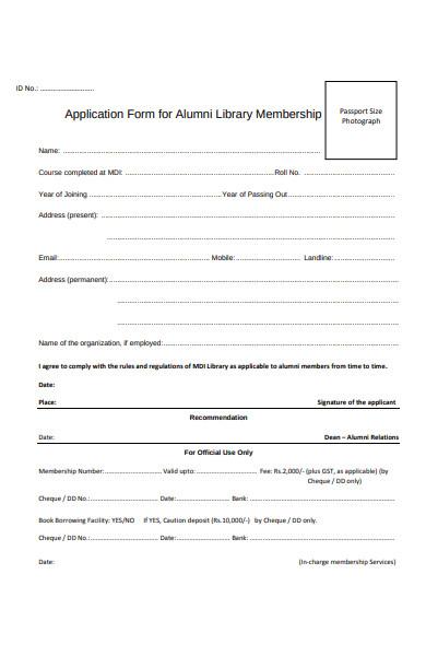 alumni application form
