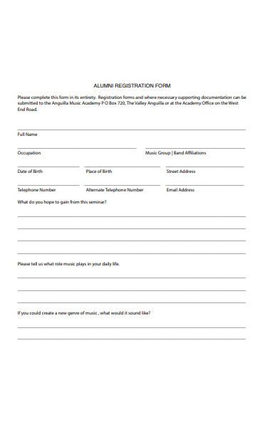 alumni association form