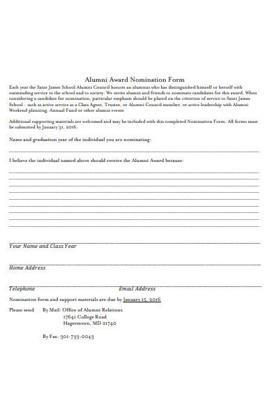 alumni award form