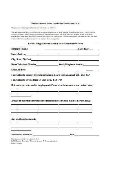 alumni board form
