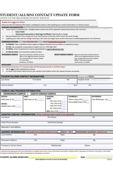 alumni contact update form