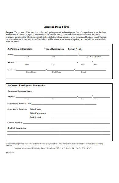 alumni data form
