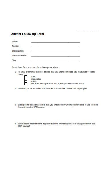 alumni follow up form